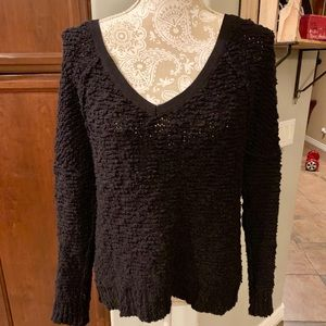 Free People chunky black v neck sweater S